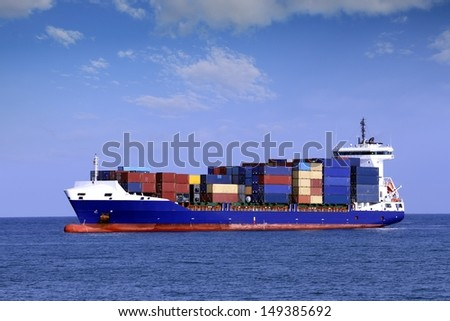 Container ship sailing - stock photo