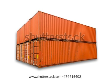 Orange freight shipping container isolated on stock for Isolation container maritime