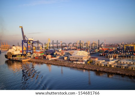 Container Terminal. Port Sant-Petersburg  - stock photo