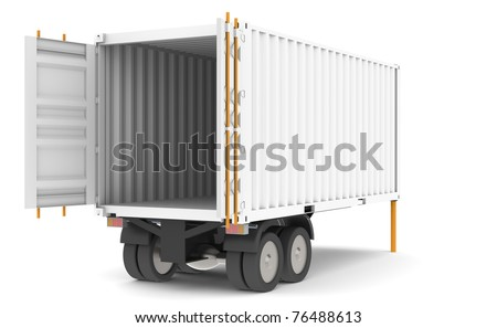 Container Trailer. Open and empty Container Trailer. Part of warehouse series. - stock photo