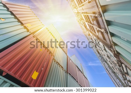 Container transport terminals - stock photo