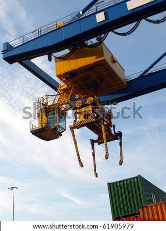 Container transport, up - stock photo