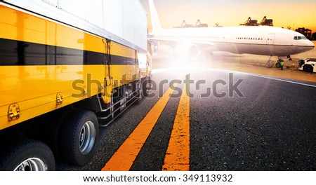 container truck and ship in import,export harbor port with cargo freight plane flying use for transport and logistic ,shipping business background,backdrop - stock photo