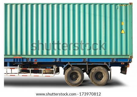 Container truck Cargo Delivery  isolated on white background  - stock photo