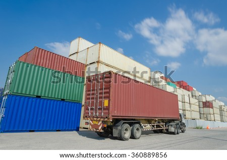 Container truck in Container yard - stock photo