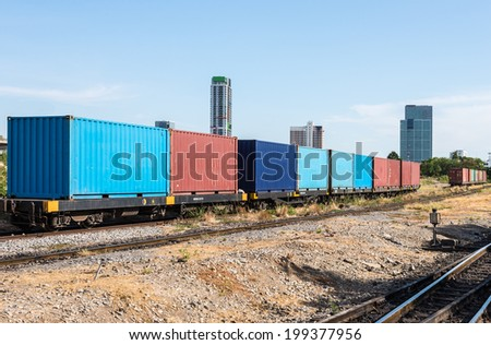 container wagon near the center station in urban city. - stock photo