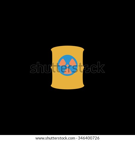 Container with radioactive waste. Colorful symbol on black background - stock photo