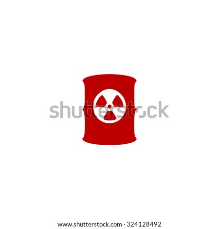 Container with radioactive waste. Red flat icon. Illustration symbol on white background - stock photo