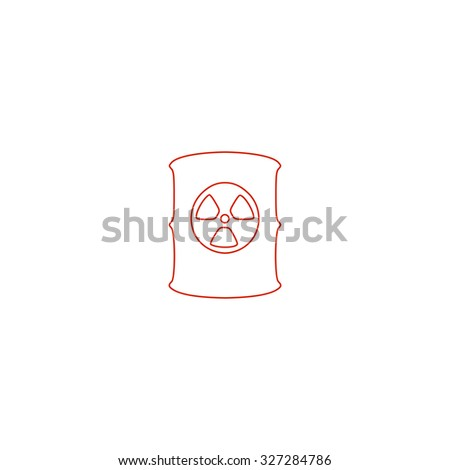Container with radioactive waste. Red outline illustration pictogram on white background. Flat simple icon - stock photo