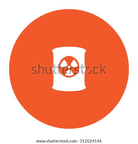 Container with radioactive waste. Simple flat white icon in the orange circle. illustration symbol - stock photo