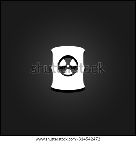 Container with radioactive waste. White flat simple icon illustration with shadow on a black background. Symbol for web and mobile applications for use as logo, pictogram, icon, infographic element - stock photo