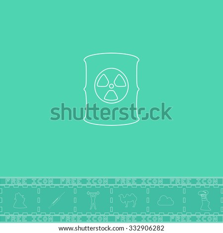 Container with radioactive waste. White outline flat icon and bonus symbol. Simple illustration pictogram on green background - stock photo
