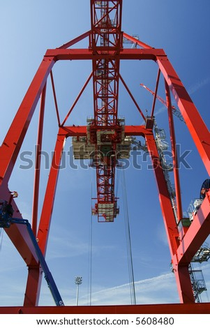 Containers and container cranes in a major port - stock photo