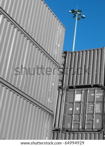 Containers at port - stock photo