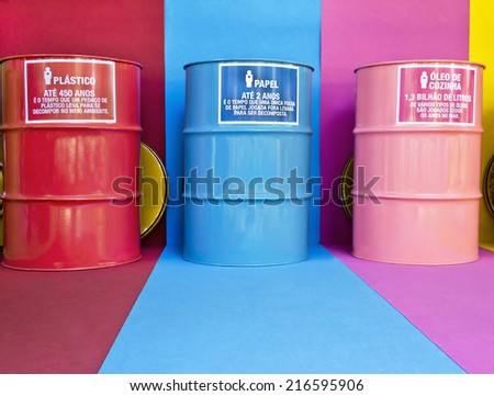 Containers for selective collection - environmental education  - stock photo