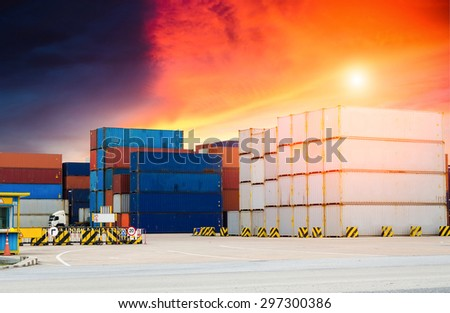 Containers in the port at morning time , Containers , shipping , Trade Port , Logistics - stock photo