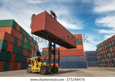 Containers in the port at Thailand. - stock photo