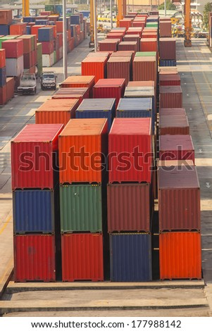 Containers in the port of Laem Chabang in Thailand. - stock photo