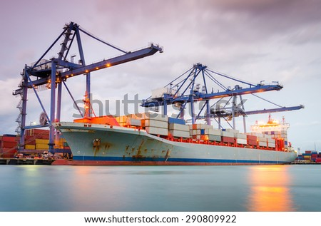 Containers loading by crane