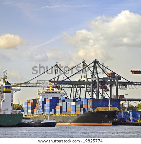 Containers with container cranes
