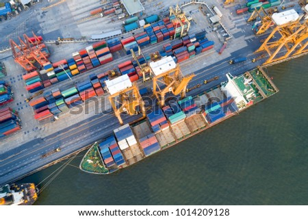 containers yard port congestion ship vessels stock photo royalty