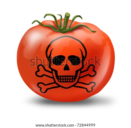 Contaminated Food poisoning symbol represented with a tomato and skull and bones showing the concept of produce that is not safe to eat. - stock photo