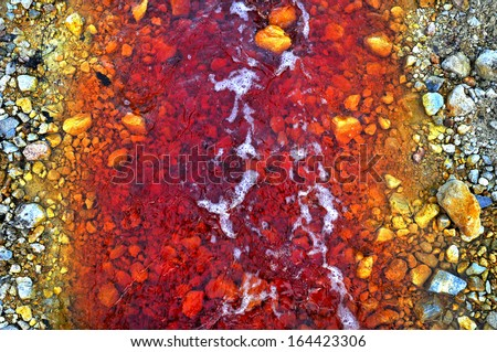 Contaminated mine water pollution of a copper mine exploitation - stock photo