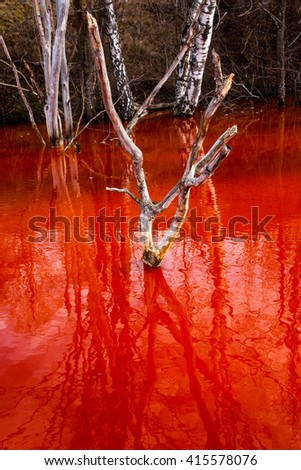 Contaminated red lake in Romania