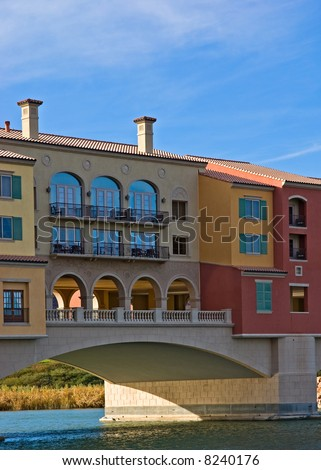 Contemporary architecture at Lake Las Vegas resort - stock photo