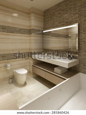 Contemporary Bathroom Design. 3d render - stock photo