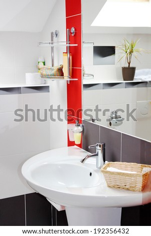 contemporary bathroom interior - stock photo