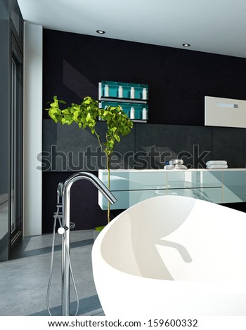 Contemporary bathroom interior with black wall - stock photo