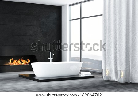Contemporary bathroom interior with fireplace - stock photo