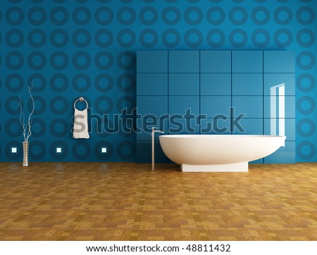 contemporary bathroom with fashion bathtub in front a blue panel - rendering - stock photo
