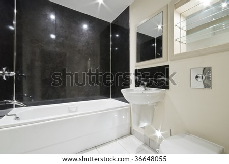 contemporary bathroom with natural black stone tiles