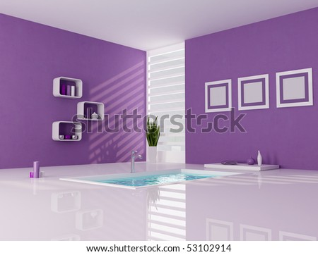 contemporary bathtub in a purple and white bathroom - rendering - stock photo