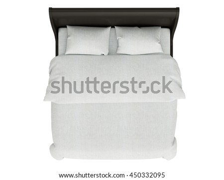 contemporary bed isolated on white background top view e69 white