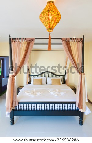 Contemporary bedroom at Banana Garden Beach, Koh lanta, Krabi, Thailand. - stock photo