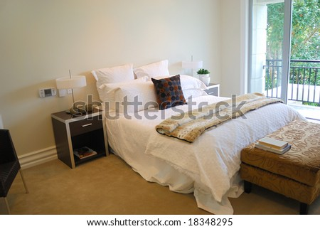 contemporary bedroom with modern furniture