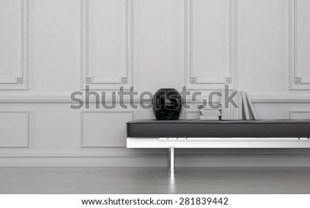Contemporary Black Vase and Stack of Books on Leather Bench in Modern Room with White Floor and Wall with Wainscotting. 3d Rendering. - stock photo
