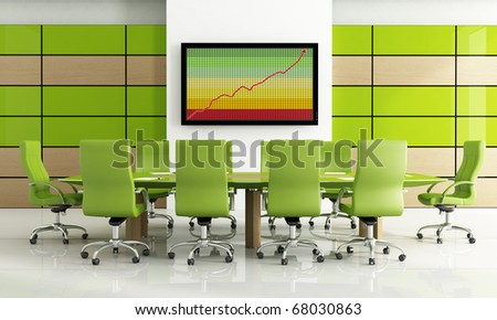Contemporary bright green meeting room - rendering - stock photo