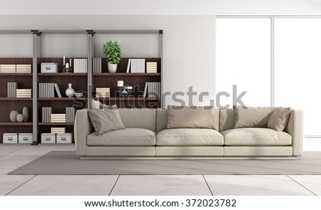 Contemporary bright living room with sofa and bookcase on background - 3D Rendering - stock photo