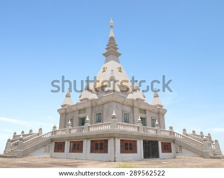 Contemporary Buddhist pagoda in northern of Thailand - stock photo
