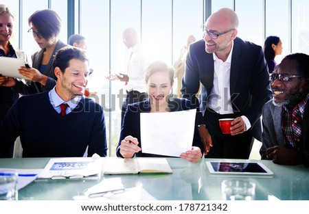 Contemporary Business People in Industrial Office - stock photo