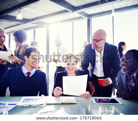 Contemporary Business People Working Together in Office - stock photo