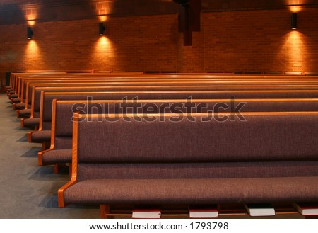 Contemporary Church Pews - stock photo