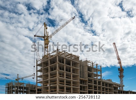 Contemporary construction site - stock photo