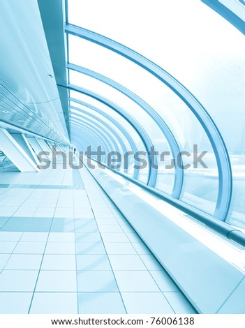 contemporary corridor in office center - stock photo