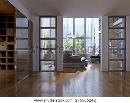 Contemporary design of hallway. 3D render - stock photo