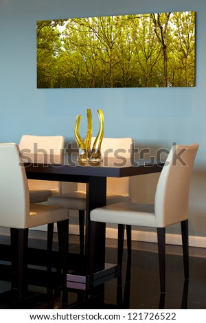 Contemporary dining room detail - stock photo